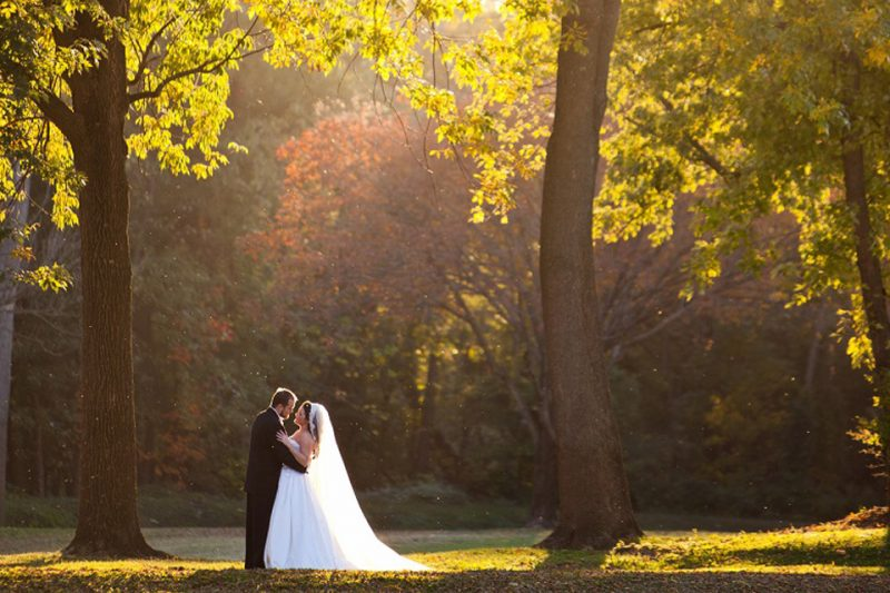 Bride-and-Groom-In-the-Woods-Evansville-Country-Club-Wedding-800x533